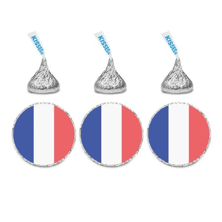 Pack Laser Stickers Flag Design - Global World Flag Party Collection, Chocolate Drop Label Stickers, France, 216-Pack