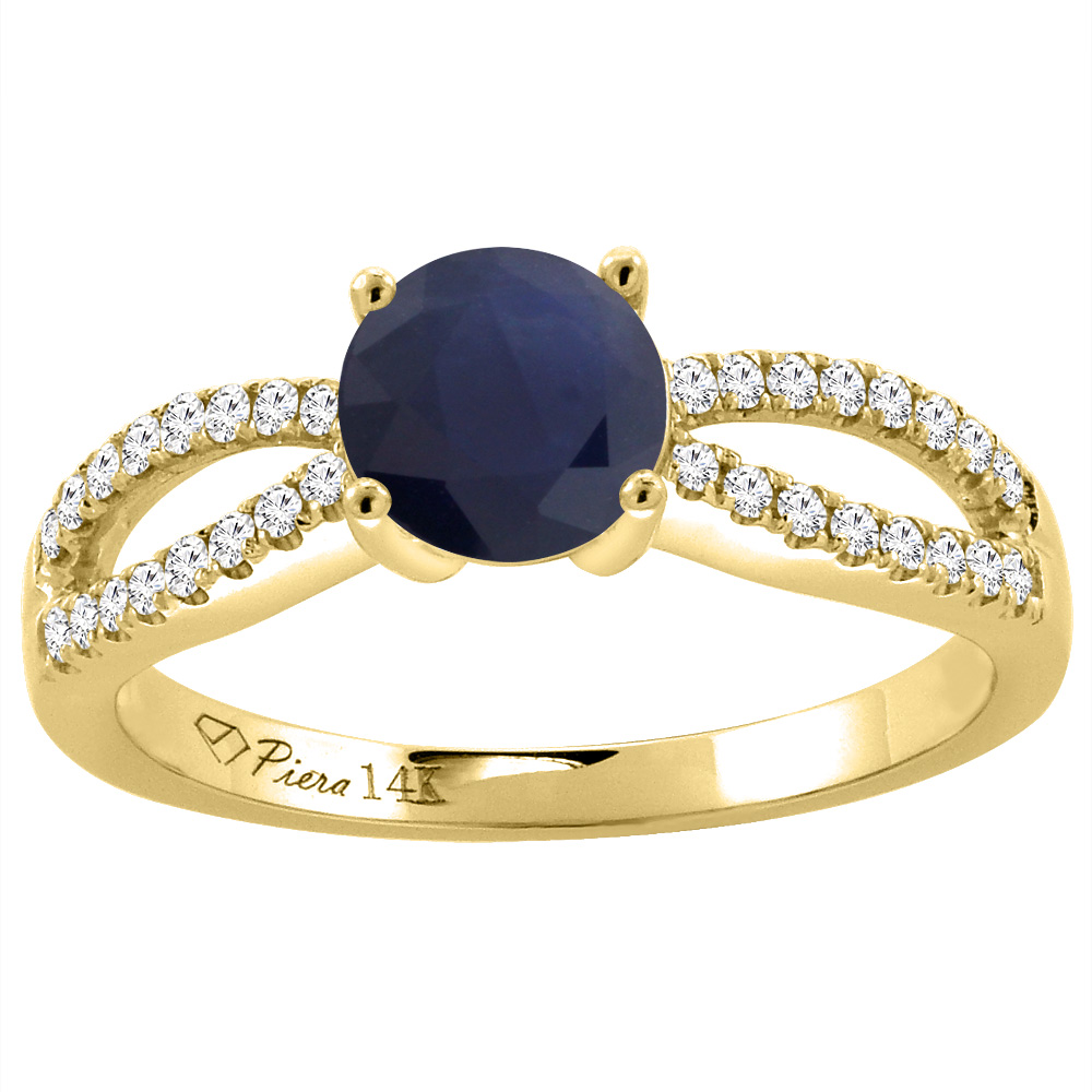 14K Yellow Gold Diamond Natural HQ Blue Sapphire Engagement Ring Round 7 mm, size 5 by Gabriella Gold