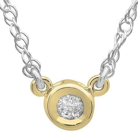0.50 Carat (ctw) 14K Gold Round Diamond Ladies Bezel Set Solitaire Pendant 1/2 (Half Bezel Set Solitaire)