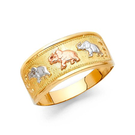 14k Yellow White Rose Gold Three Elephants Band Ring Good Luck Charm Polished Tri Color 9MM (Tri Color Ring)
