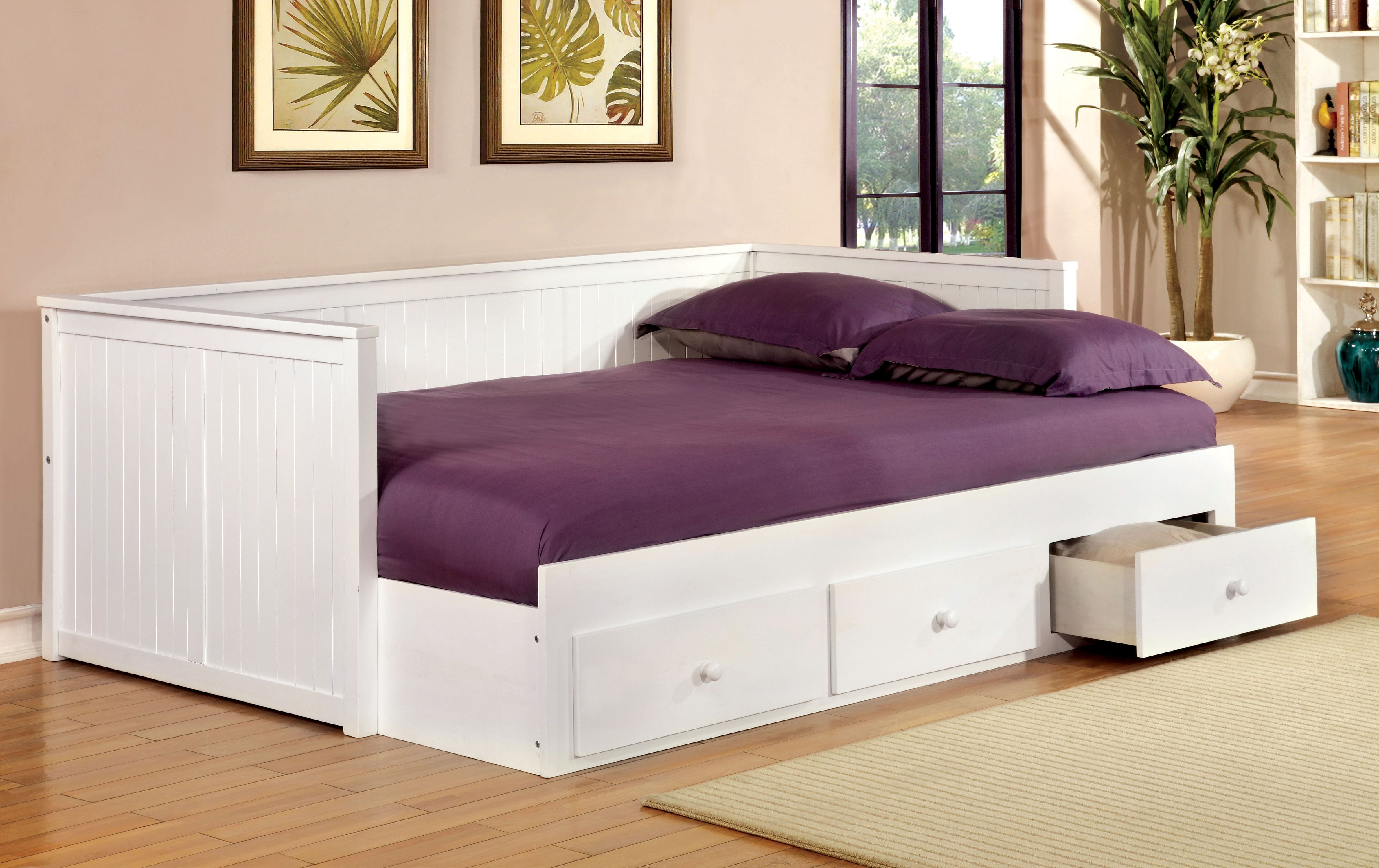 Furniture Of America Sorrinah Wood Daybed With Drawers Full White Walmart Com Walmart Com