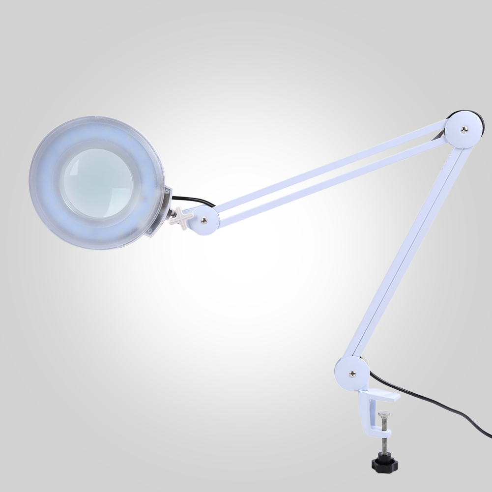 5X LED Magnifier Lamp,Adjustable Swivel & Swing Arm Magnifier Table Lamp Light With Glass Lens and Bench Clamp by