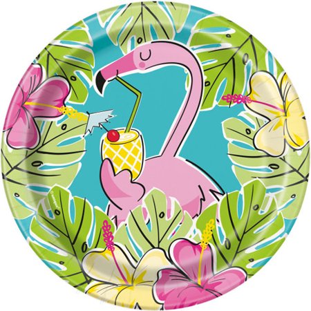 Hawaiian Luau 'Pineapples and Flamingos' Small Paper Plates (8ct)](Luau Party Plates)