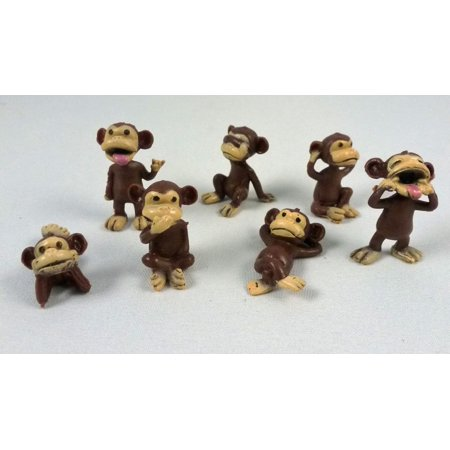 Party Figure - 100 Monkey Figures Tiny Plastic Monkey Figures Bulk Bag 100 Party Favors by A&A, Small figures ! Very Small! By AA