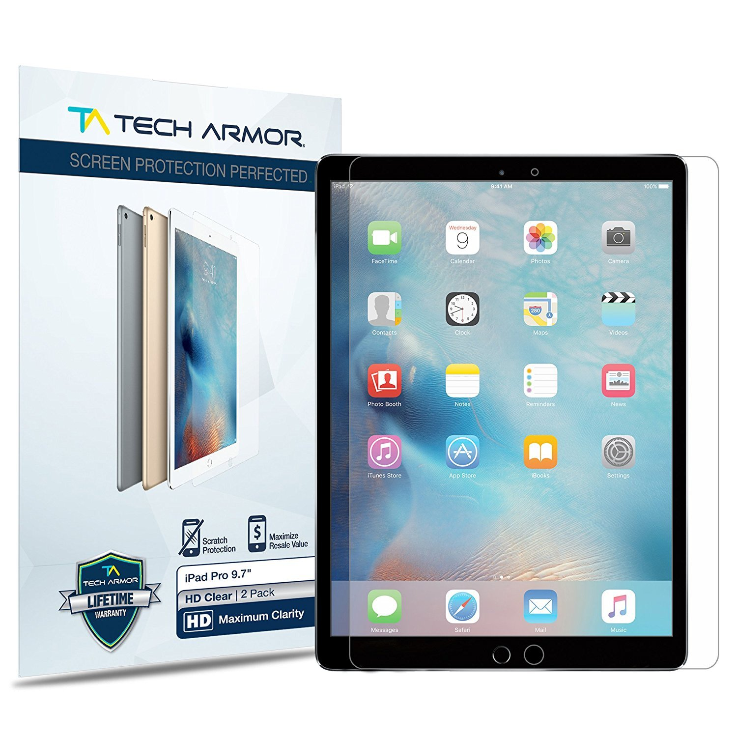 Tech Armor iPad Pro 9.7-inch (2016/2017) Screen Protector, High Definition HD-Clear Apple iPad Pro 9.7-inch Film Screen Protector [2-Pack]