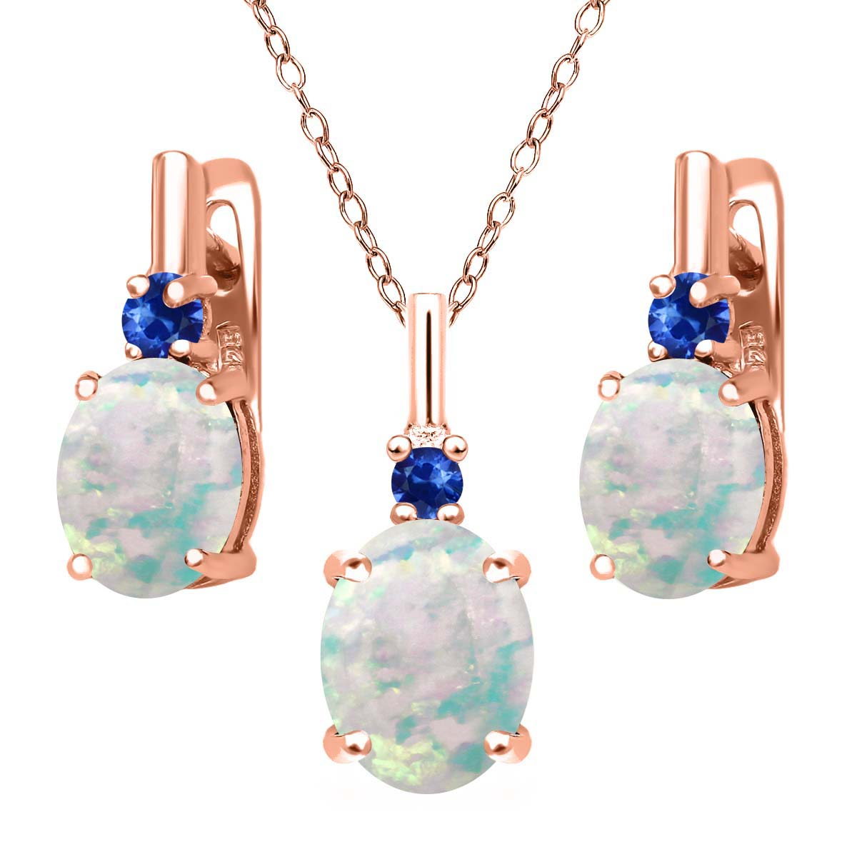 4.88ct Oval Simulated Opal Blue Sapphire 18K Rose Gold Plated Silver Jewelry Set by