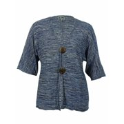 JM Collection Women's Marled Buttoned Metallic Sweater