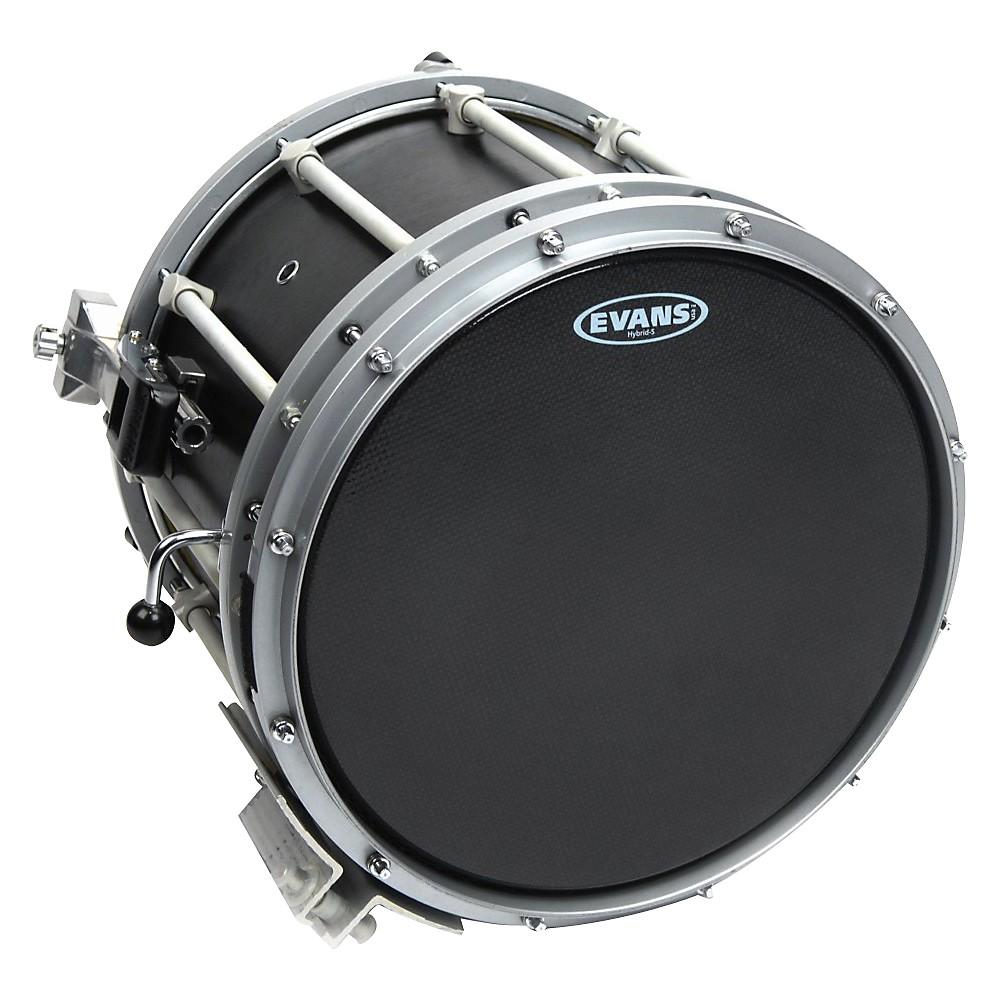 Evans Hybrid-Soft Marching Snare Drum Batter Head Black 13 in. by Evans