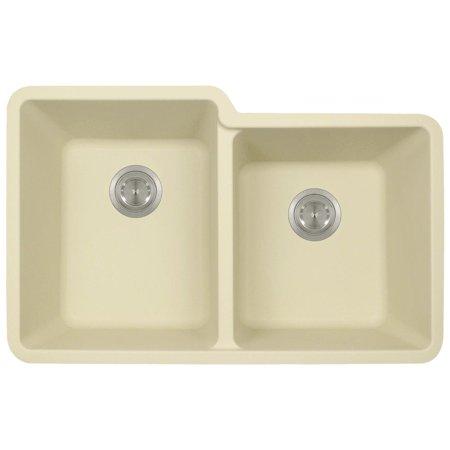 MR Direct 801 Beige Undermount Composite Granite 32 1/2 in. Offset Double Bowl Kitchen Sink