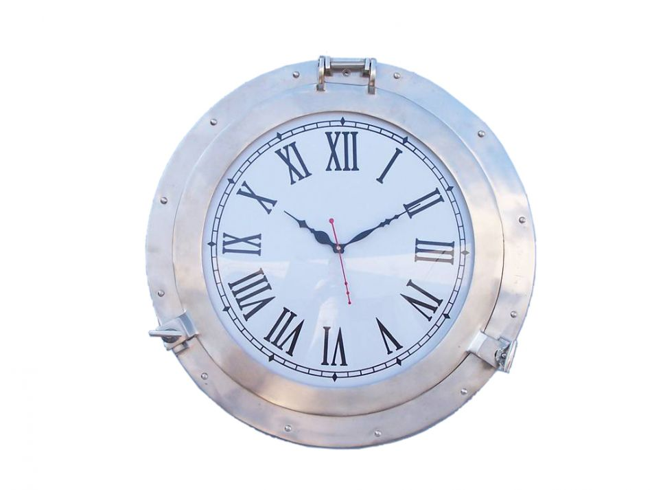 "Brushed Nickel Deluxe Class Porthole Clock 20"" Nautical Wall Clock Beach Decor by Handcrafted Nautical Decor"
