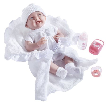 "JC Toys La Newborn 15.5"" Soft Body Baby Doll Gift Set Deluxe Boutique - White Outfit"