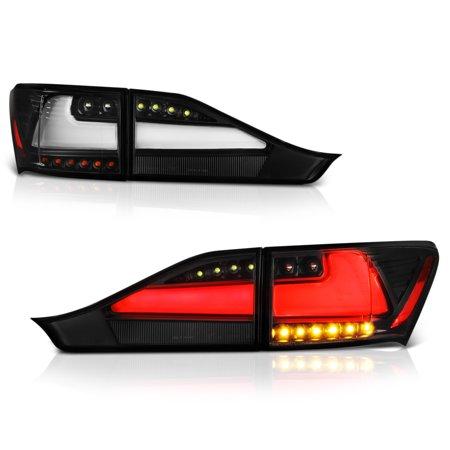 VIPMOTOZ Black Housing Neon Tube Full-LED Tail Light Lamp Assembly For 2011-2013 Lexus CT200h, Driver & Passenger Side