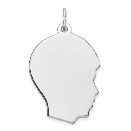 Sterling Silver Rhod-plate Eng. Boy Polish Front/Satin Back Disc Charm QM358/18 (23mm x 17mm) - image 2 de 2