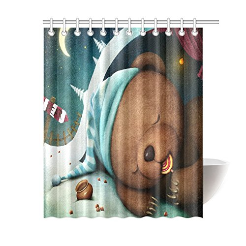 GCKG Cute Lovely Christmas Bear Shower Curtain Hooks 60x72 Inches Blue Colorful Fabric Brown Sleeping Sucking On A Candy At Winter
