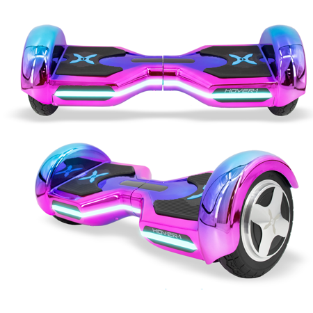 Hover-1 Eclipse Hoverboard w/ 8 in Wheels, Ultrabright Customizable LED Headlights, Built-In Bluetooth Speaker, 4-Hour Charge Time, 7 MPH Max Speed - Iridescent