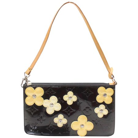 Accessoires Lexington Pochette Limited Edition Vernis Fleurs 870056 Black Patent Leather Shoulder Bag