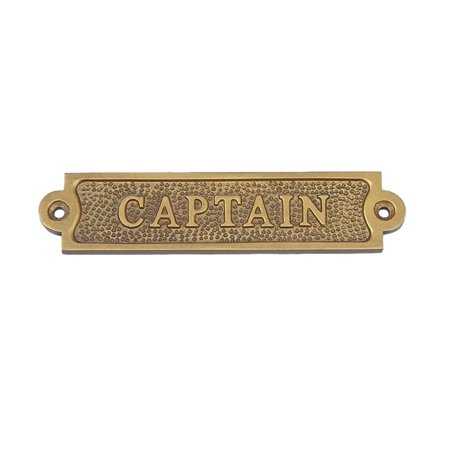 Antique Brass Captain Sign - Captain Sign - Brass Wall Sign - Nautical Decoration