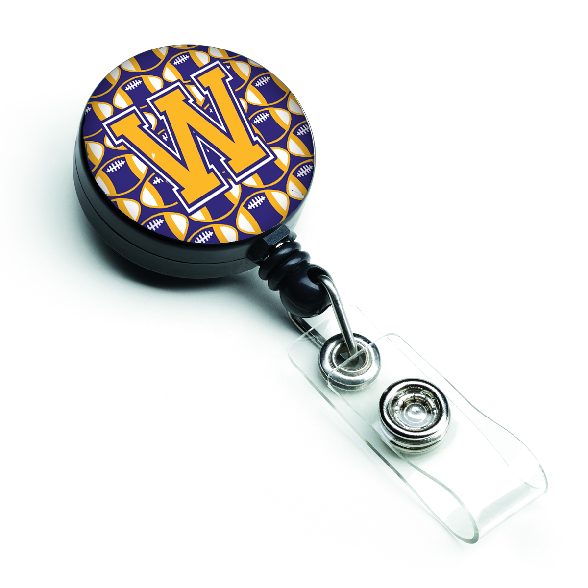 Letter W Football Purple and Gold Retractable Badge Reel CJ1064-WBR