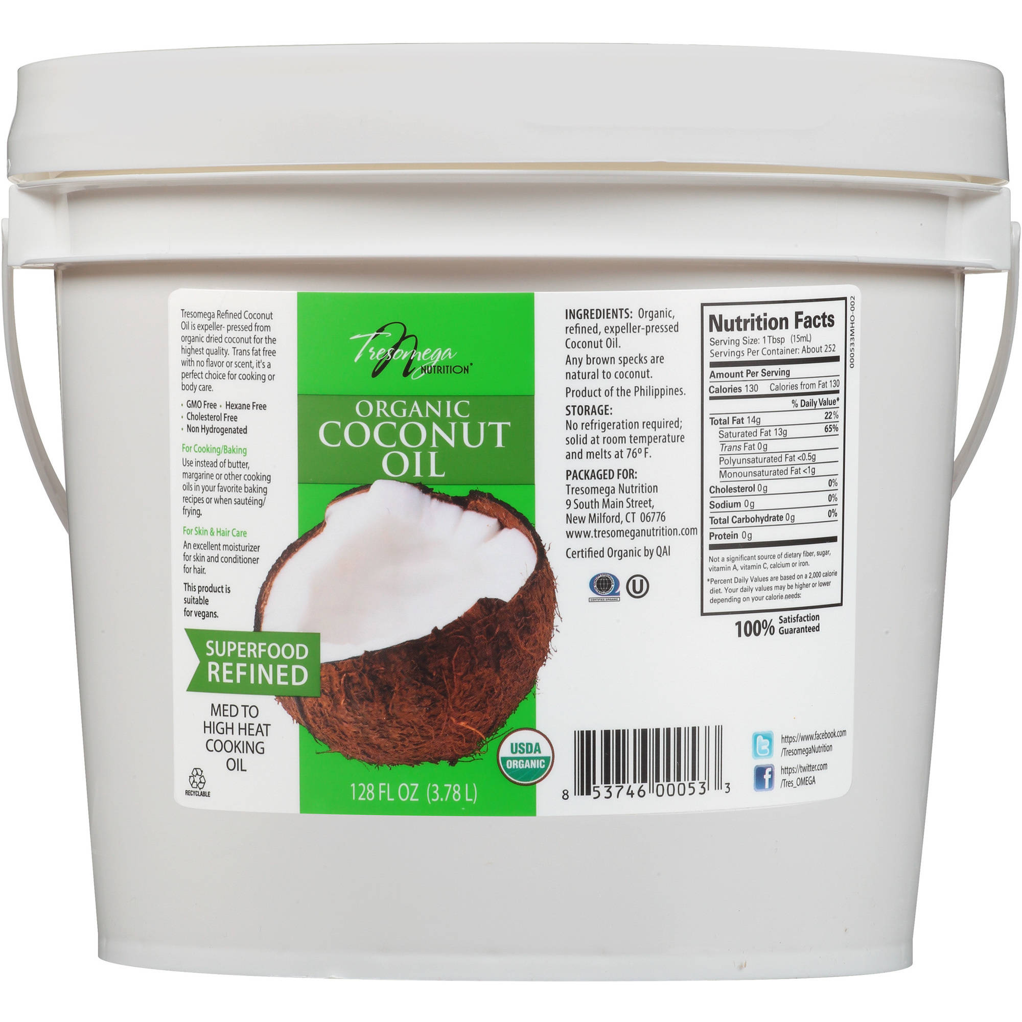 Tresomega Nutrition Refined Organic Coconut Oil, 128 fl oz