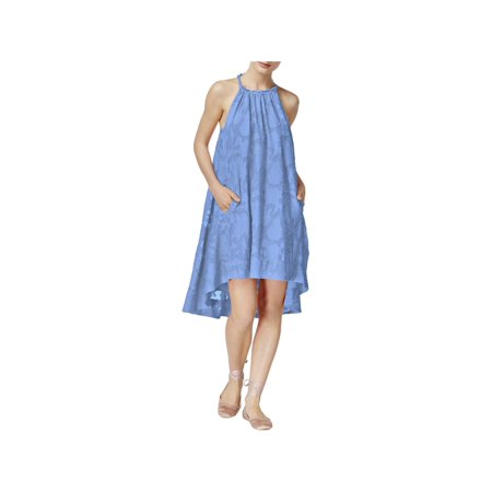 RACHEL ROY Womens Blue Textured Floral Sleeveless Halter Above The Knee Shift Prom Dress  Size: