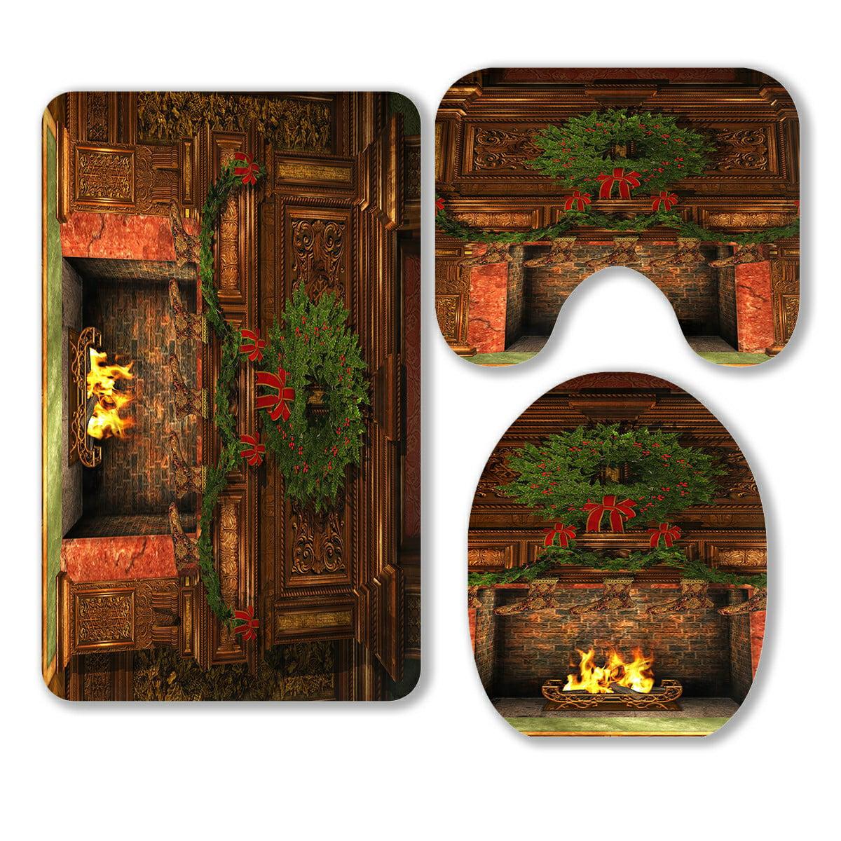 Abphqto Fireplace Christmas Holly Wreath Garland Stockings 3 Piece Bathroom Rugs Set Bath Rug Contour Mat And Toilet Lid Cover Walmart Com Walmart Com