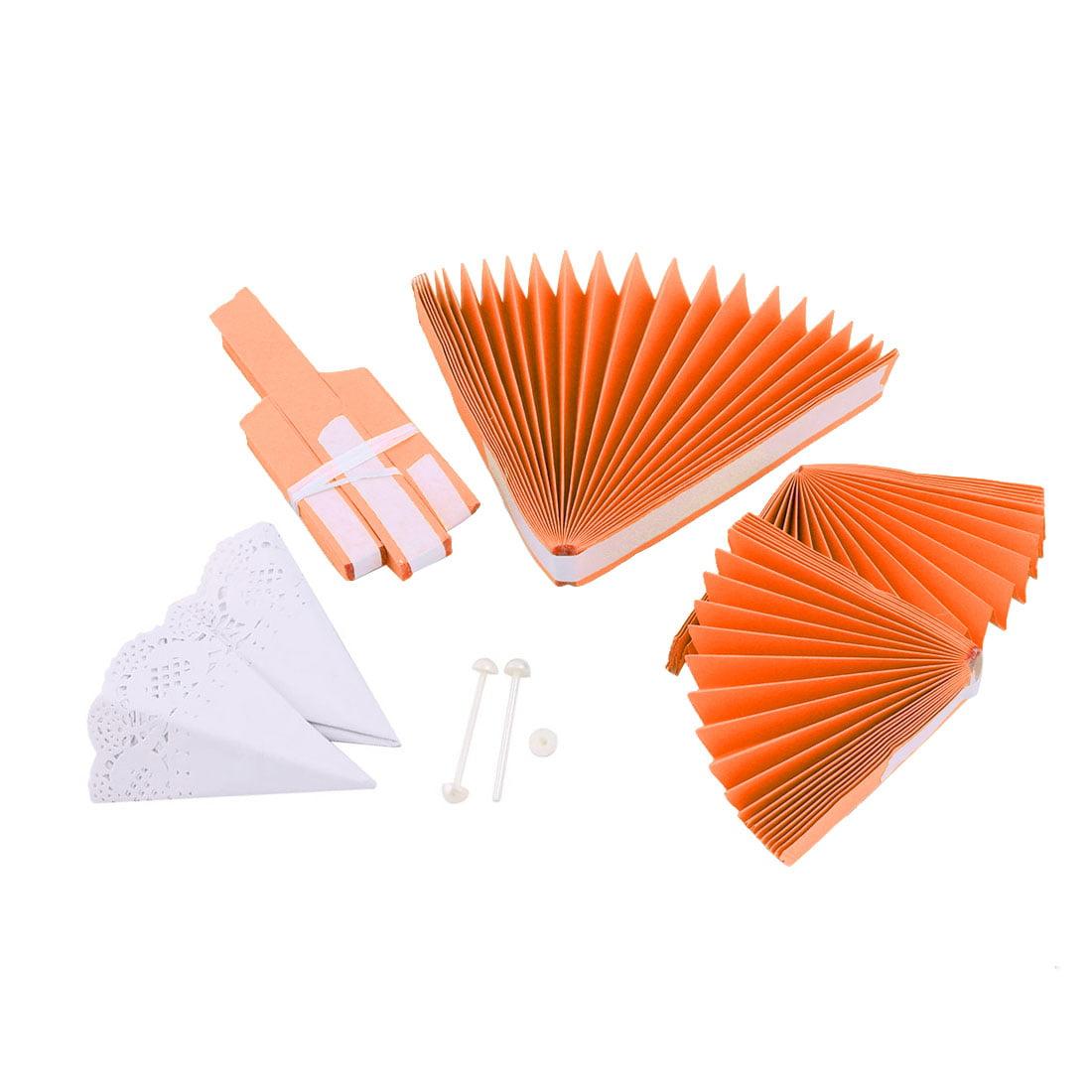 Wedding Party Paper Round 3 Layers Design DIY Handcraft Wheel Fan Orange 2pcs