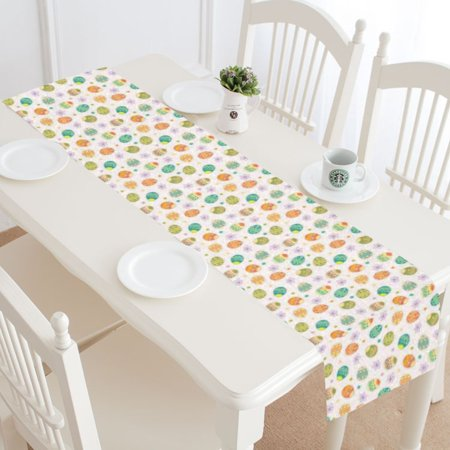Mypop Hy Easter Table Runner Placemat 14x72 Inches Colorful Egg Linen Cloth For