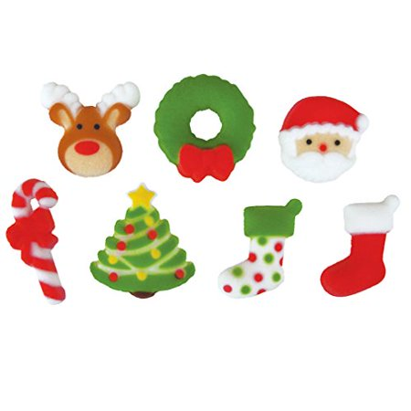- Deluxe Holly Jolly Christmas Sugar Decorations Toppers Party Favors Cookie Cupcake Cake 12 Count
