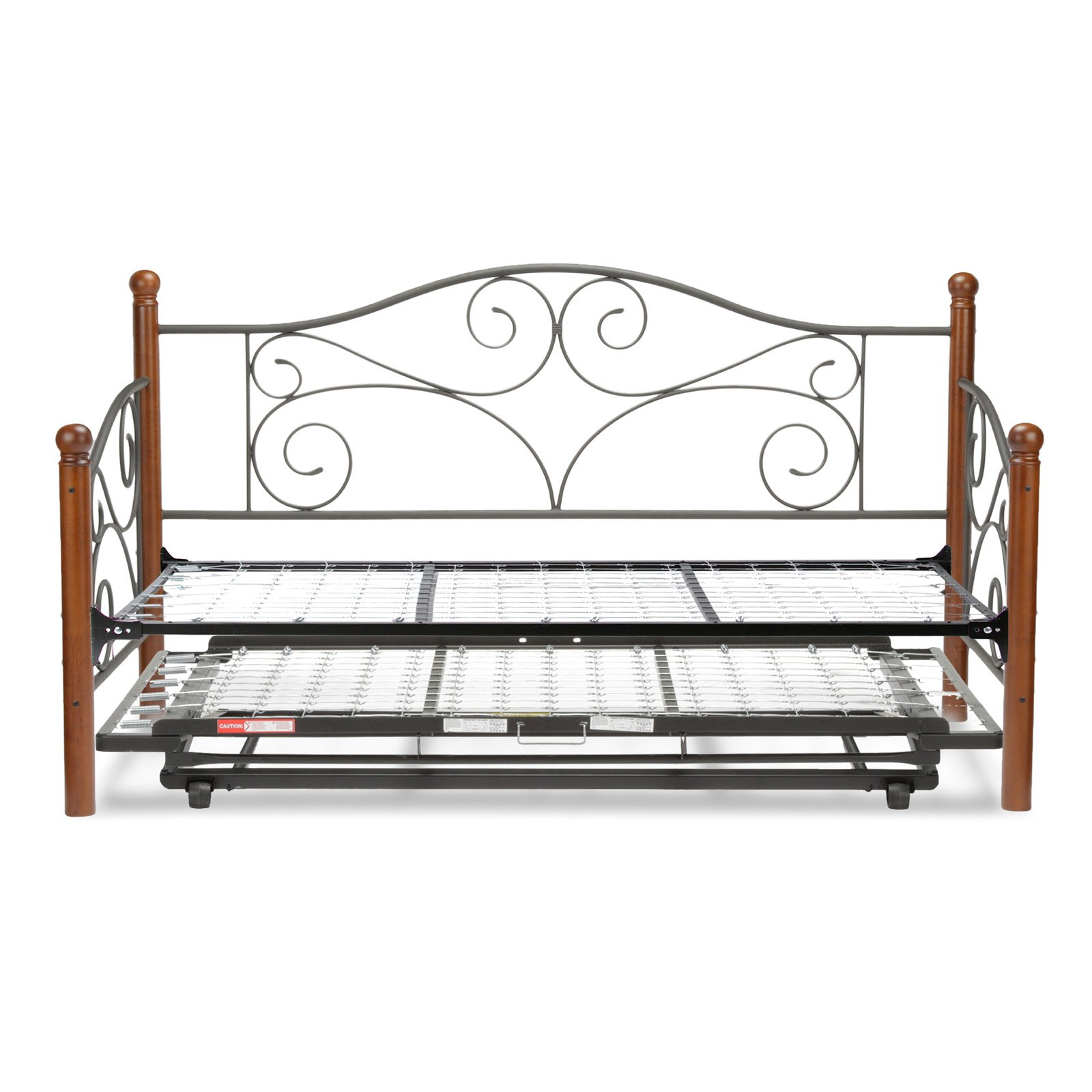 Doral Complete Metal Day Bed with Link Spring and Trundle Bed Pop-Up Frame, Matte Black Finish, Twin by Fashion Bed Group