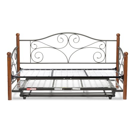 (Doral Complete Metal Daybed with Link Spring Support Frame and Pop-Up Trundle Bed, Matte Black Finish, Twin)