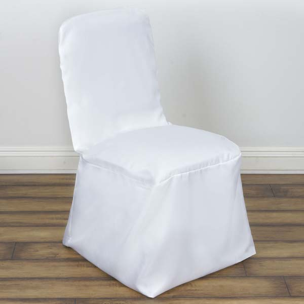 Square Top Polyester Wedding Banquet Chair Cover, White