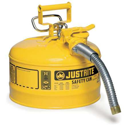 JUSTRITE 7225230 Type II Safety Can, 12 In. H, Yellow
