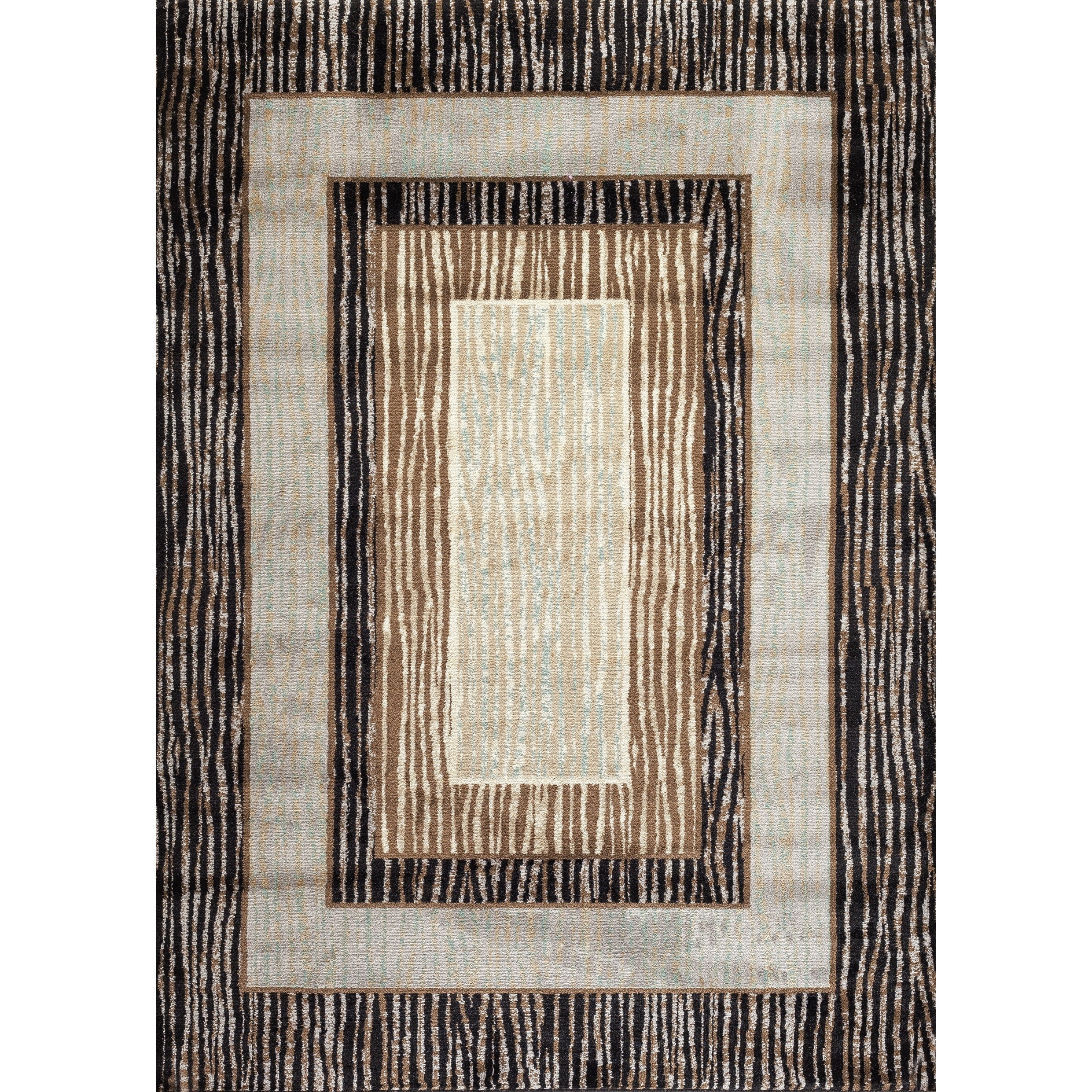 "OSTI Fireside Brown, Beige, and Caramel Bordered Area Rug - 3'4"" x 5'"