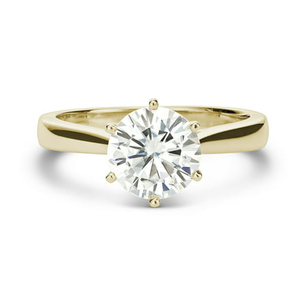 14K Yellow Gold Moissanite 6-Prong Solitaire Ring 1.90 DEW