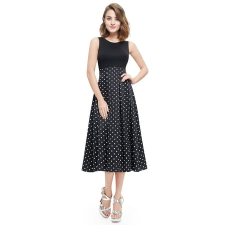 Ever-Pretty Womens Vintage Tea Length Sleeveless Polka Dot Empire Waist Evening Cocktail Party Summer Casual Midi Dresses for Women 05440 US -