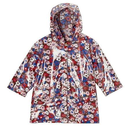Pluie Pluie Girls Brown Floral Unlined Rain Coat Outerwear 7/8