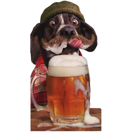 Avanti Press Mustache Dog With Beer Oversized Funny Birthday Card