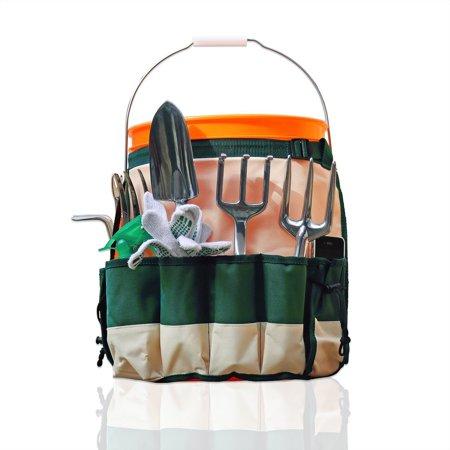 - 5-Gallon Garden Bucket Caddy Apron with 10 Deep Pockets for Gardening Tools
