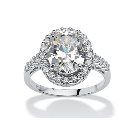 4.44 TCW Oval Cut Cubic Zirconia Platinum over Sterling Silver Halo (Oval Cut Cubic Zirconia Ring)