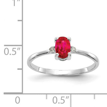14K White Gold Diamond & Ruby Birthstone Ring - image 1 de 2