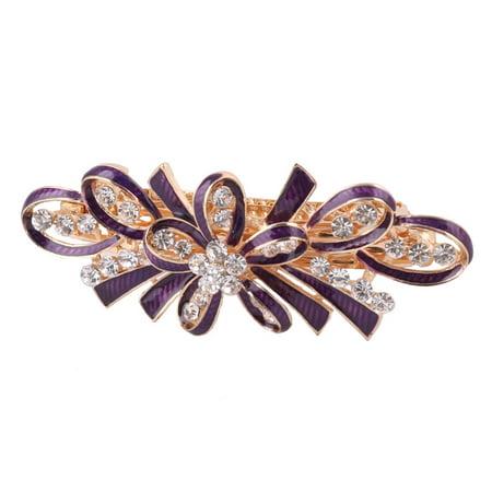 Lady Metal Bowknot Design Faux Rhinestones Inlaid Hairwearing Hair Clip Purple