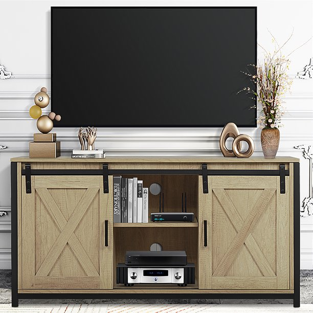 LXingStore TV Stand Cabinet, Sliding Barn Door TV Stand, Wooden Media Center Console, Storage Farmhouse TV Cabinet, Hardware Kit Double Door for TV up to 55'' for Living Room, Cornish Oak
