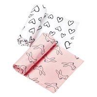 Little Star Organic 100% Pure Organic Cotton Swaddle Blanket, 2 Pk, Pink-Modern Blush