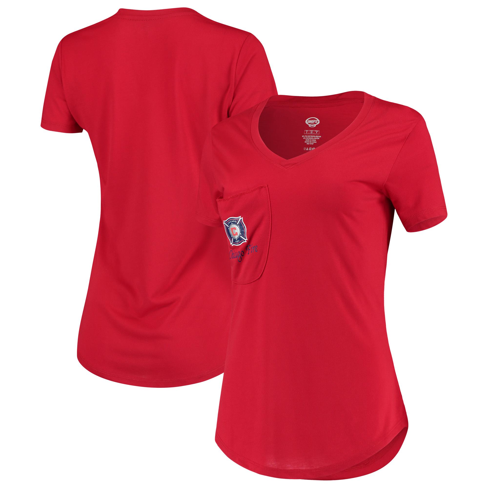 Chicago Fire Concepts Sport Women's Unwind Pocket V-Neck T-Shirt - Red
