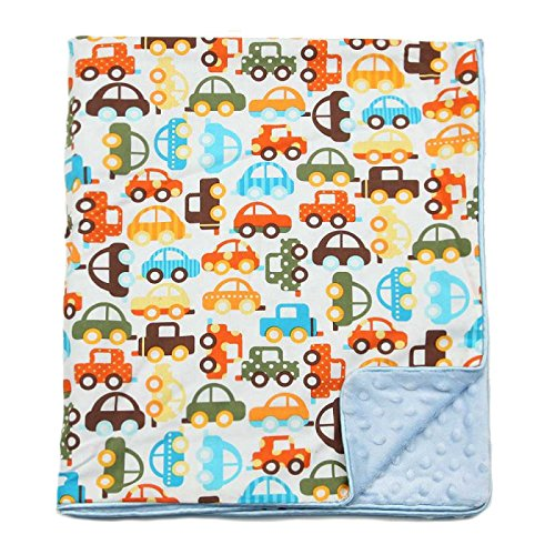 My Blankee Cars Organic Cotton White w/ Minky Dot Blue Baby Blanket, 30' X 35'