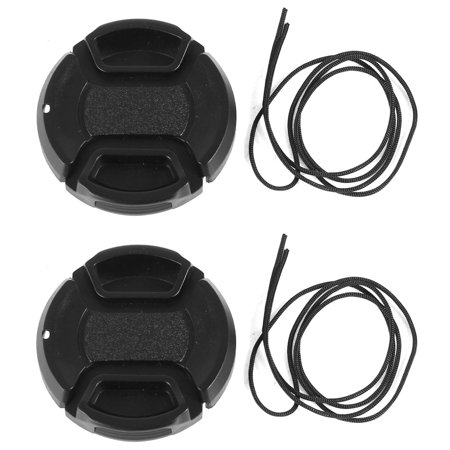 Unique Bargains 2 Pcs 40.5mm Center Pinch Lens Cap Cover w Strap Leash for DLSR Digital Cameras (Camera Lens Strap)
