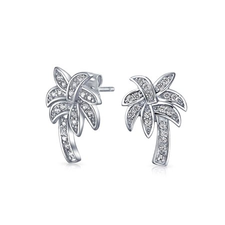 Nautical Pave Cubic Zirconia CZ Tropical Beach Palm Tree stud Earrings For Women For Teen 925 Sterling Silver - Beach Necklaces
