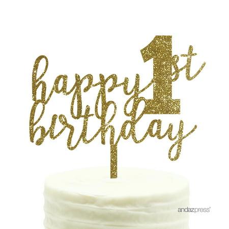 Gold Glitter Happy 1st Birthday Script Acrylic Cake Topper