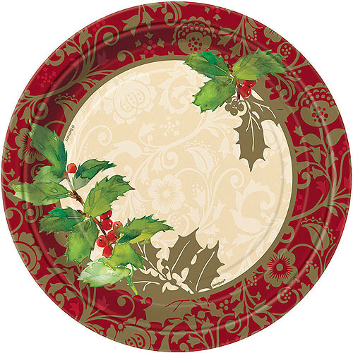9  Frosted Holiday Christmas Square Paper Dinner Plates 8ct - Walmart.com  sc 1 st  Walmart & 9
