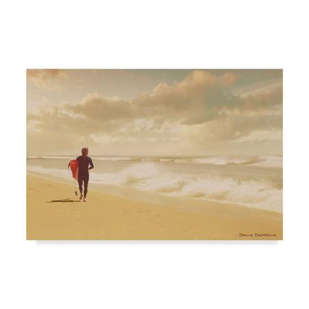 Trademark Fine Art 'The Surfer On Beach' Canvas Art by Carlos Casamayor